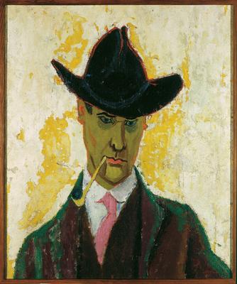 Lyonel Feininger: Selbstbildnis mit Tonpfeife, 1910, Öl auf Leinwand