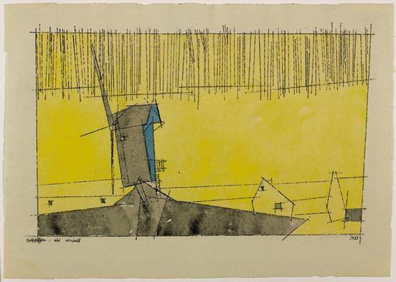 Lyonel Feininger: Old Windmill, 1933, Aquarell und Feder
