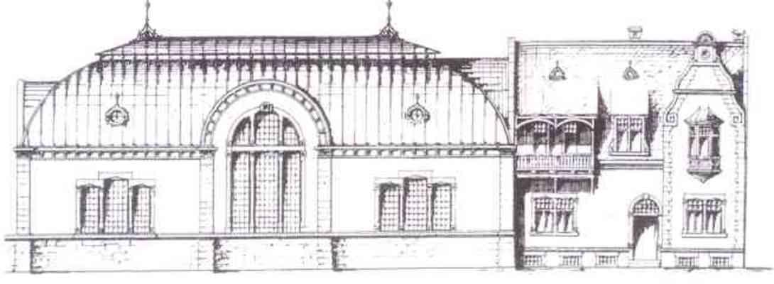 historische Ansicht der denkmalgeschützten Hauptgebäude